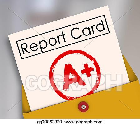 Grades clipart evaluation. Stock illustration report card