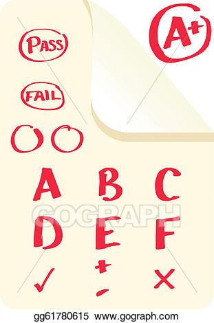 Eps illustration school vector. Grades clipart exam marks