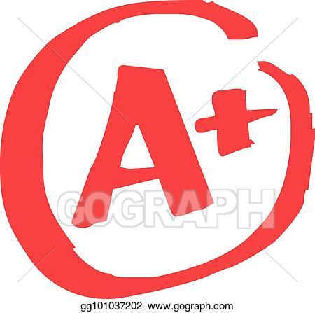 Vector illustration a grade. Grades clipart exam