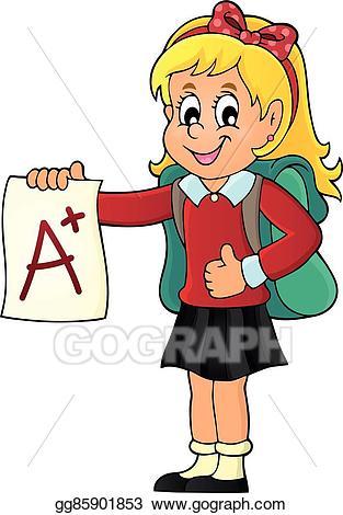 Grades clipart plus. Vector art school girl