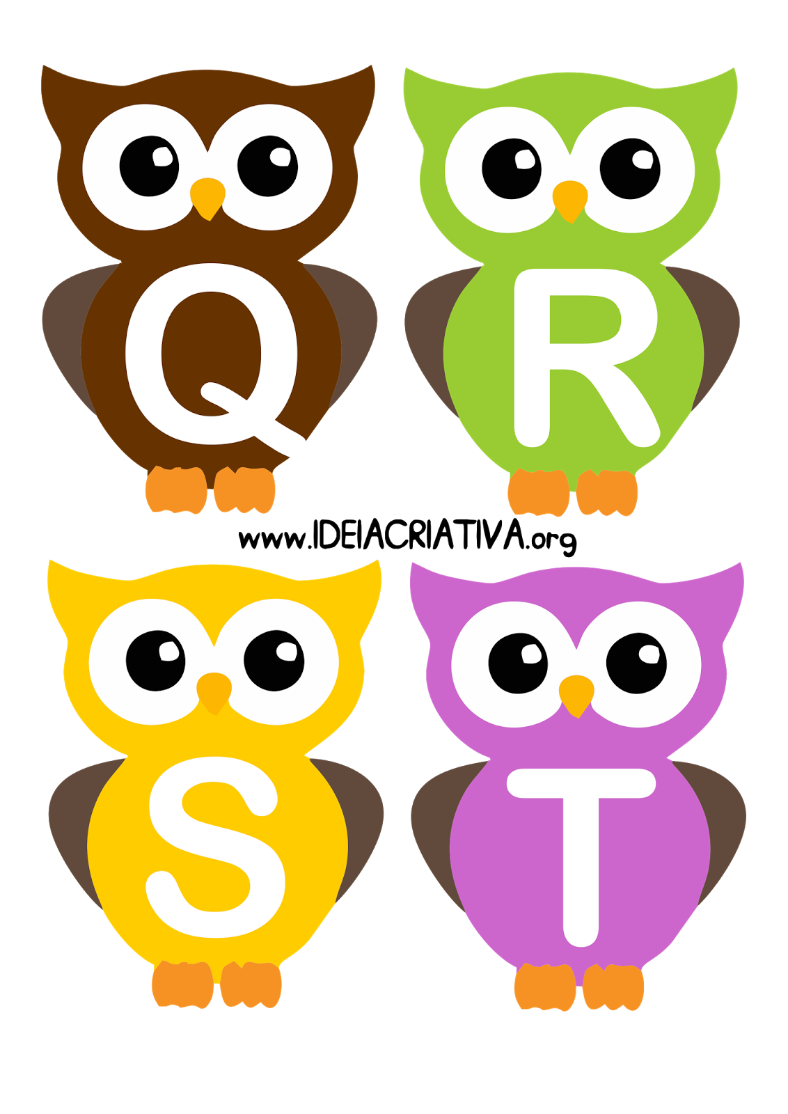 Alfabeto letra bast o. Jobs clipart owl