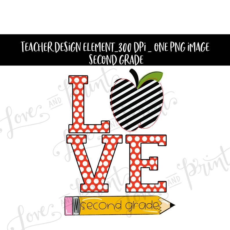 Grades clipart second grade. Love apple sublimation transfer
