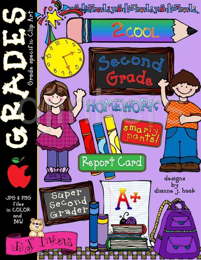 Grades clipart second grade. Cute school clip art