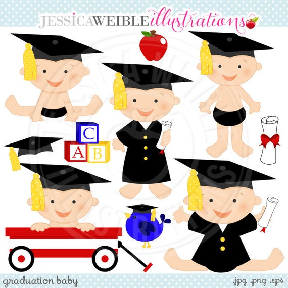 Cute digital commercial use. Graduation clipart baby