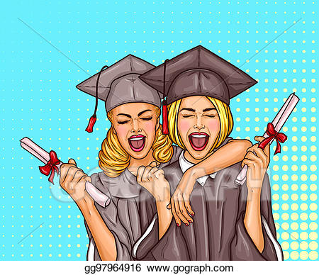 Graduate clipart excited. Two pop art girls