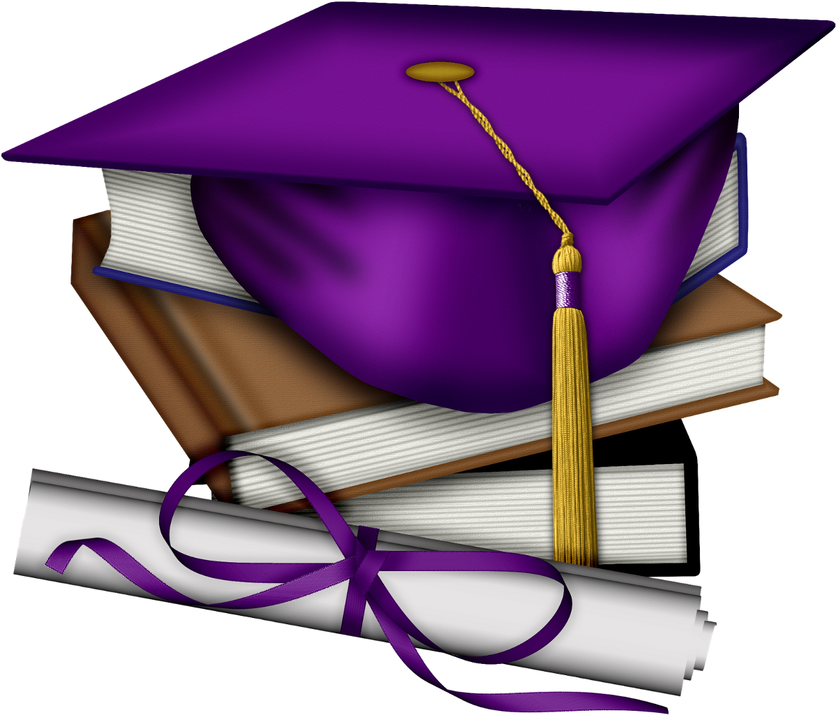 Purple tassel books textbooks. Textbook clipart graduation cap