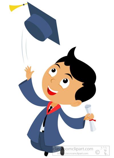 Graduation clipart. Male student tosing cap