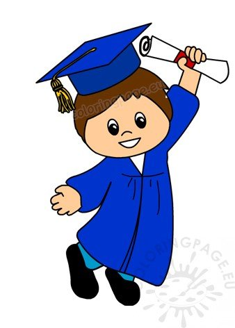 Happy after coloring page. Graduation clipart boy