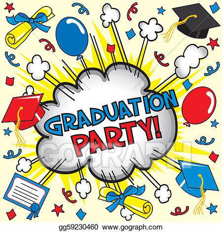 Eps illustration card vector. Graduation clipart graduation party