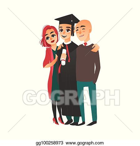 Vector art in cap. Proud clipart proud graduate