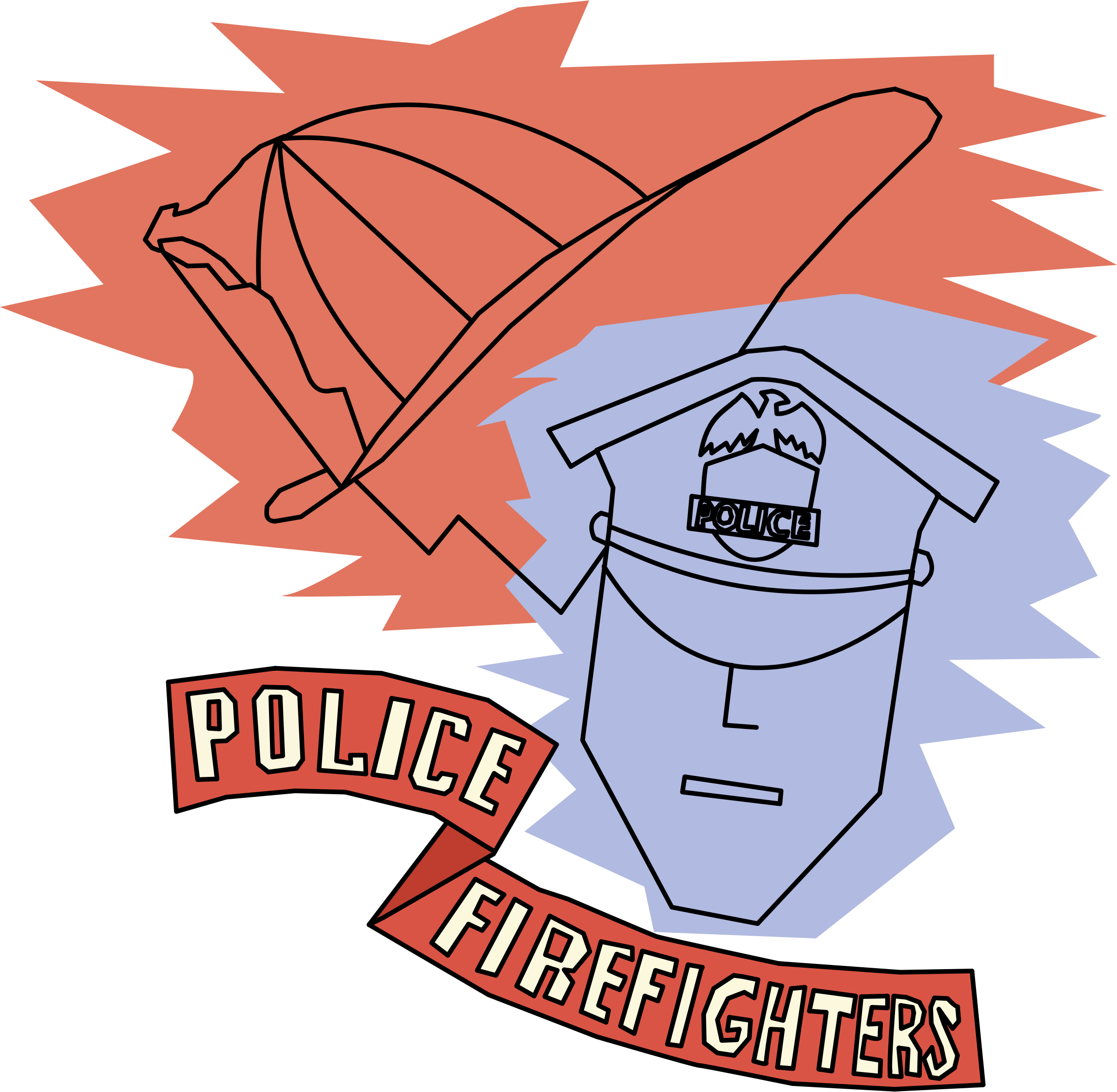 Graduation clipart poster. Police and firefighters by