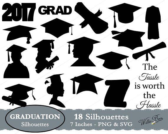 Silhouette images grad cap. Graduation clipart poster