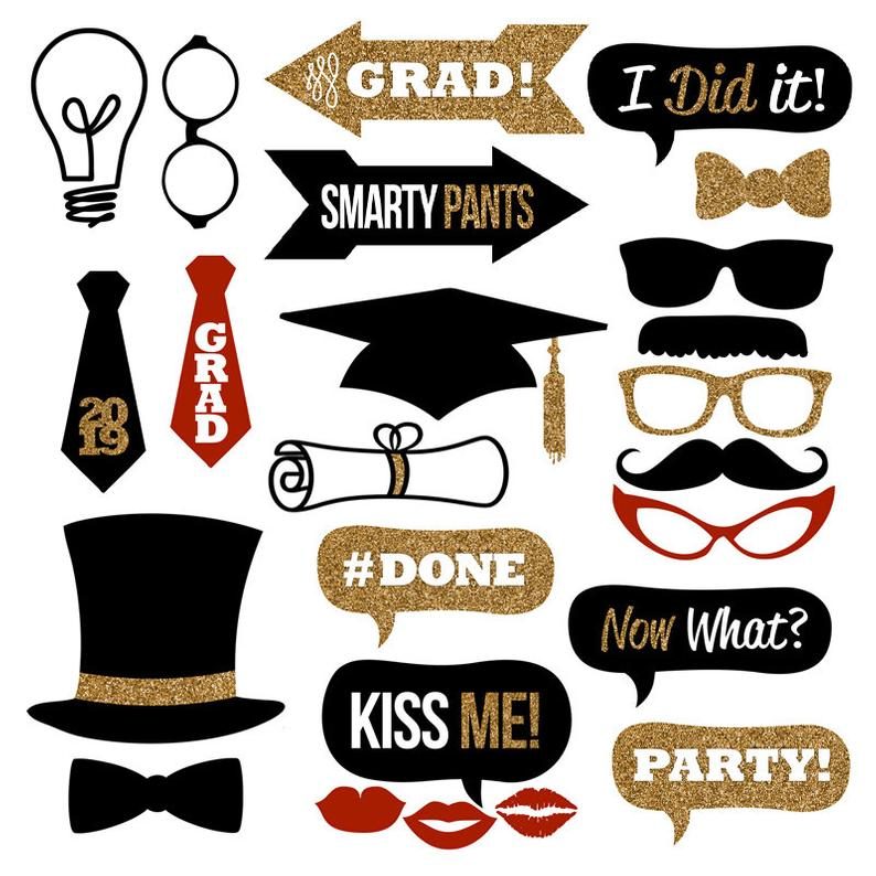 Graduation clipart prop. Photo booth props collection