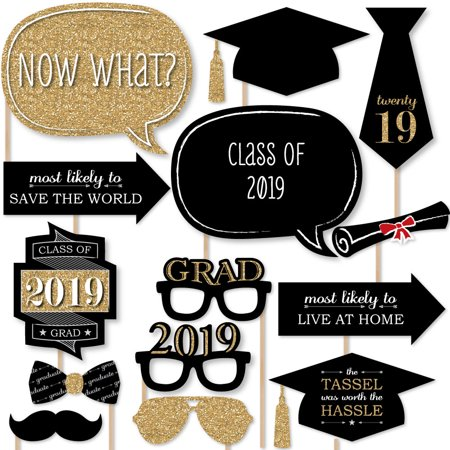 Party gold photo booth. Graduation clipart prop