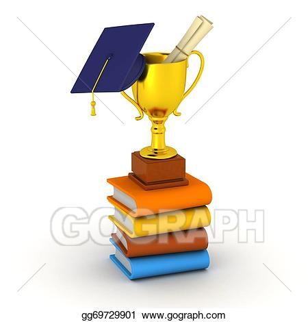 Stock illustration d books. Graduation clipart trophy