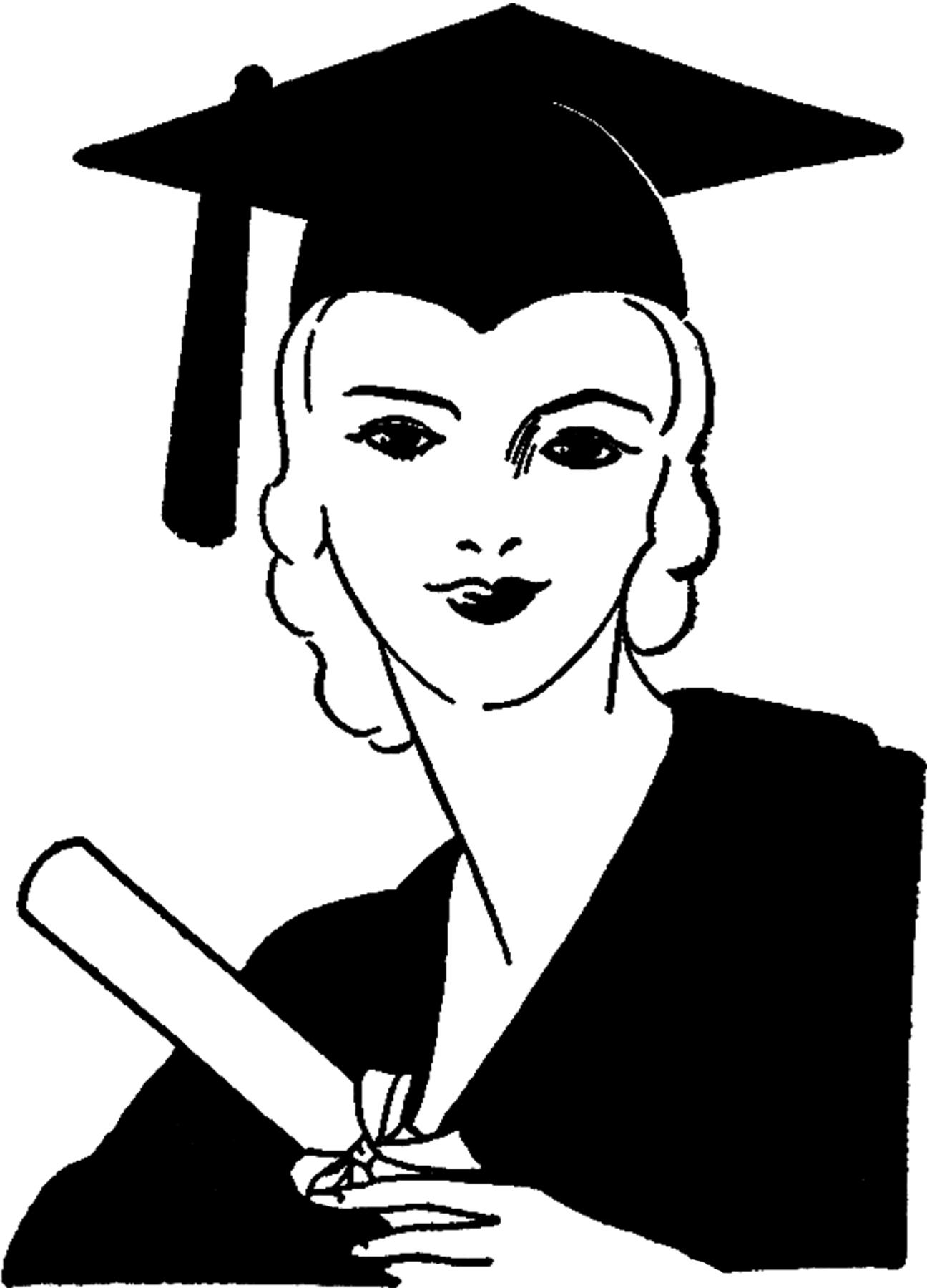 clip art free. Graduation clipart vintage