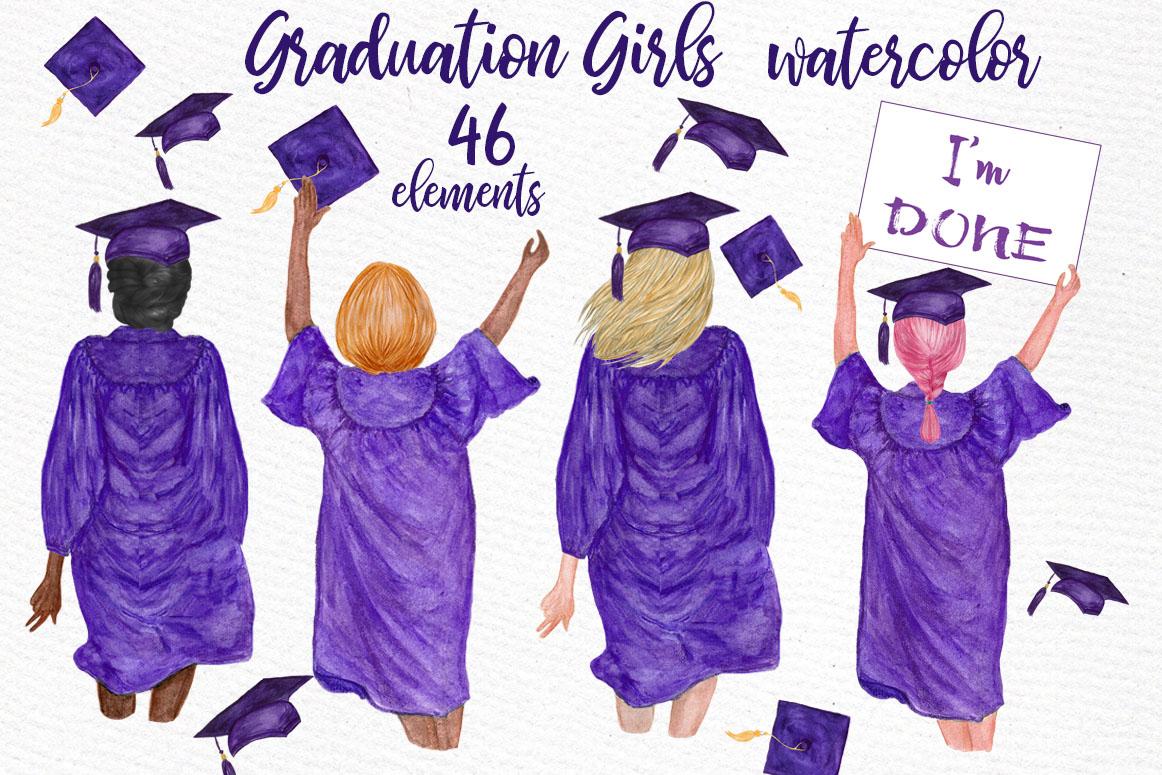 Girls graduating . Graduation clipart watercolor