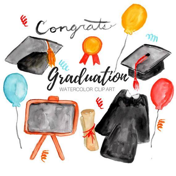 Graduation clipart watercolor. Clip art class of