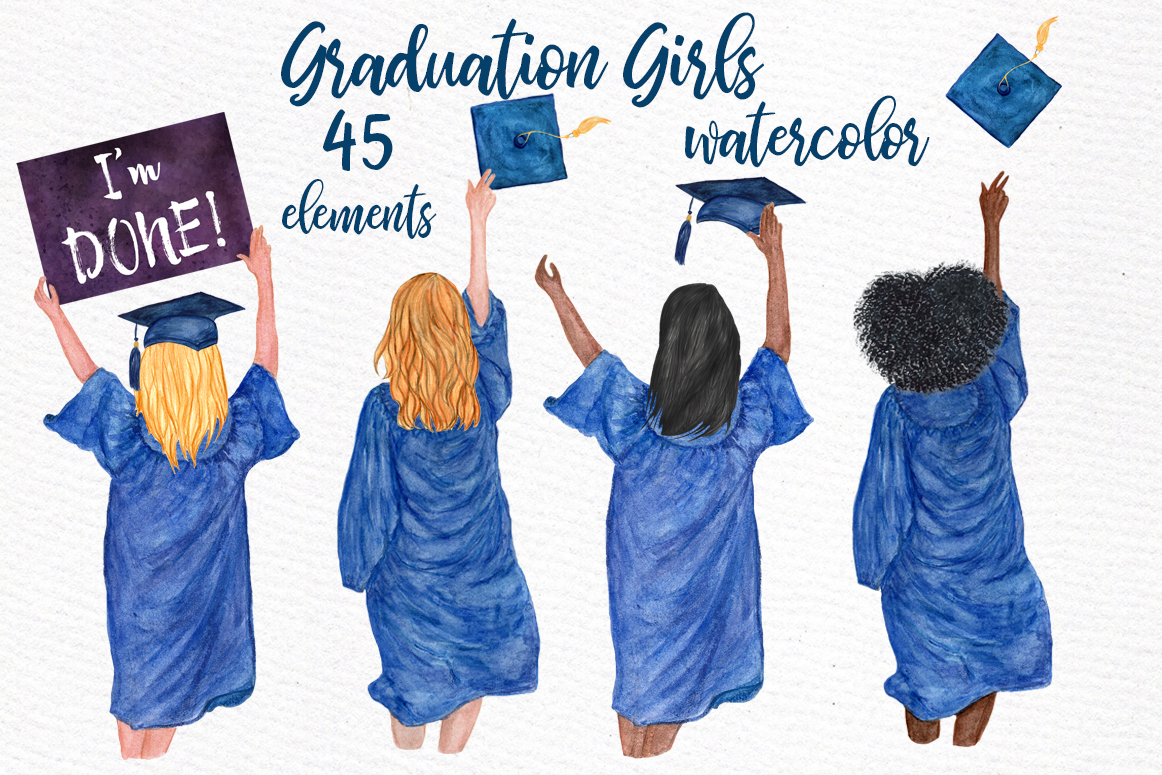 Graduation clipart watercolor. Girls grad