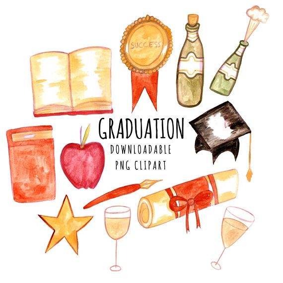 College watercolour my . Graduation clipart watercolor
