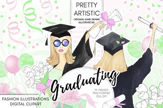 Graduation clipart watercolor. Celebration diploma gift confetti