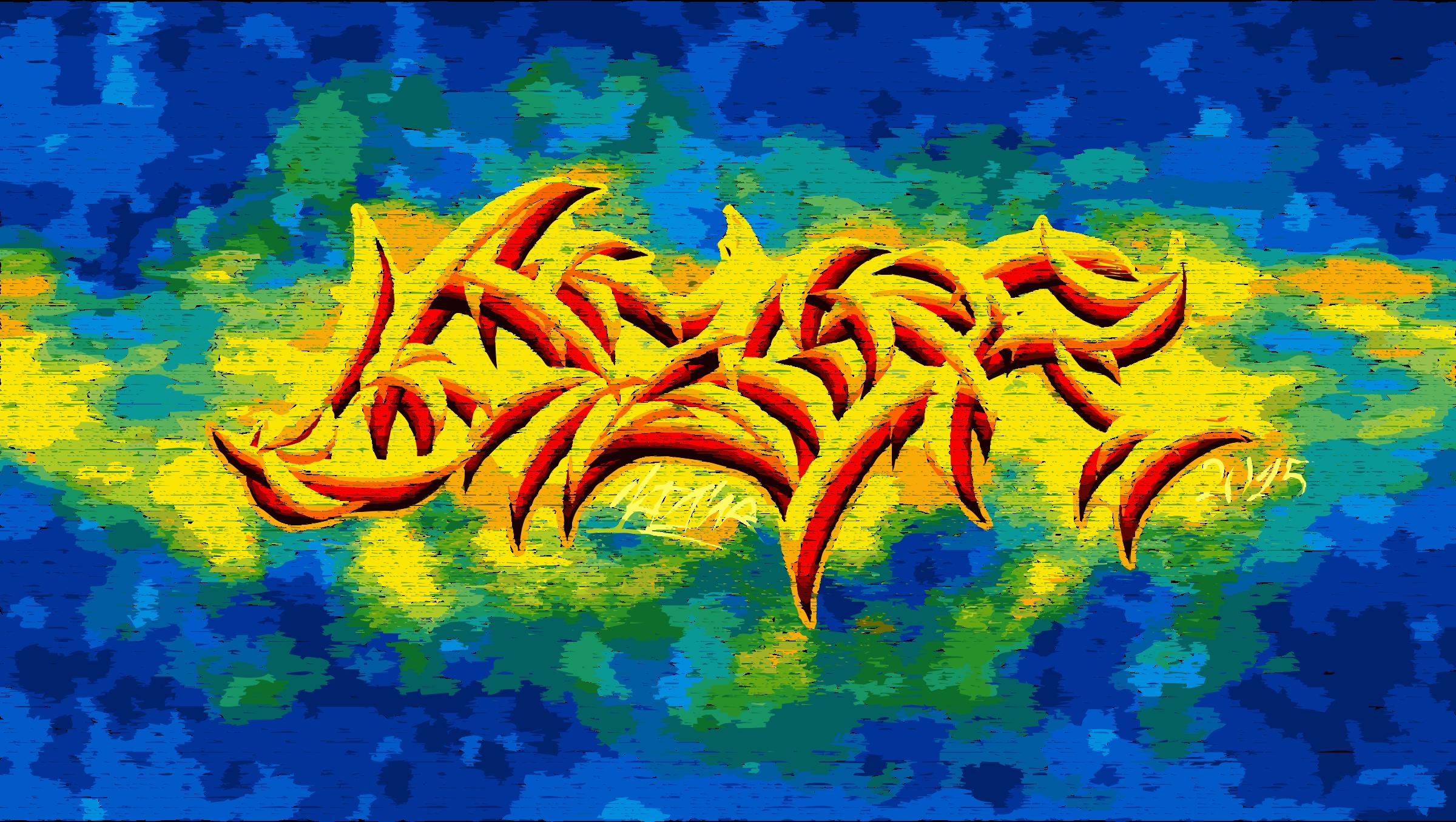 Cyanized sunset big image. Graffiti clipart blue