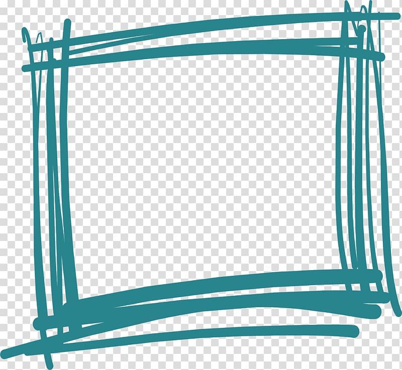 Blue rectangle handdessed . Graffiti clipart border