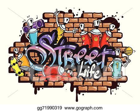 Graffiti clipart grafitti. Vector art word characters