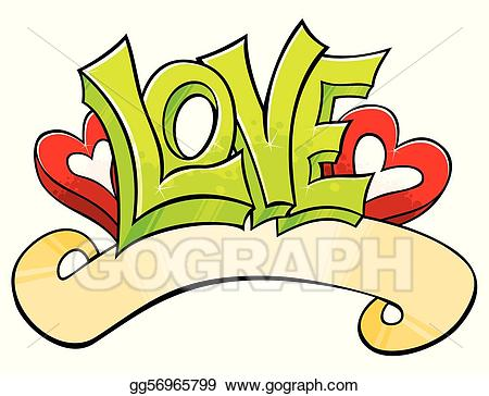 Vector stock with illustration. Graffiti clipart love