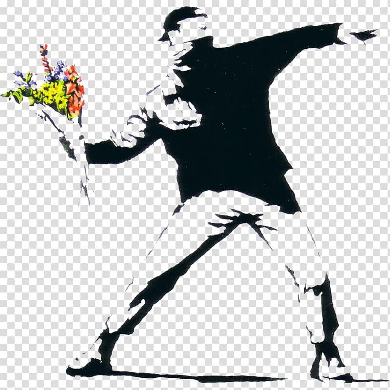 Holding multicolored flower bouquet. Graffiti clipart man