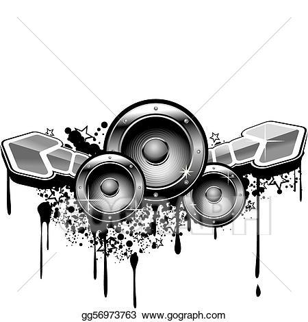 Vector stock grunge illustration. Graffiti clipart music