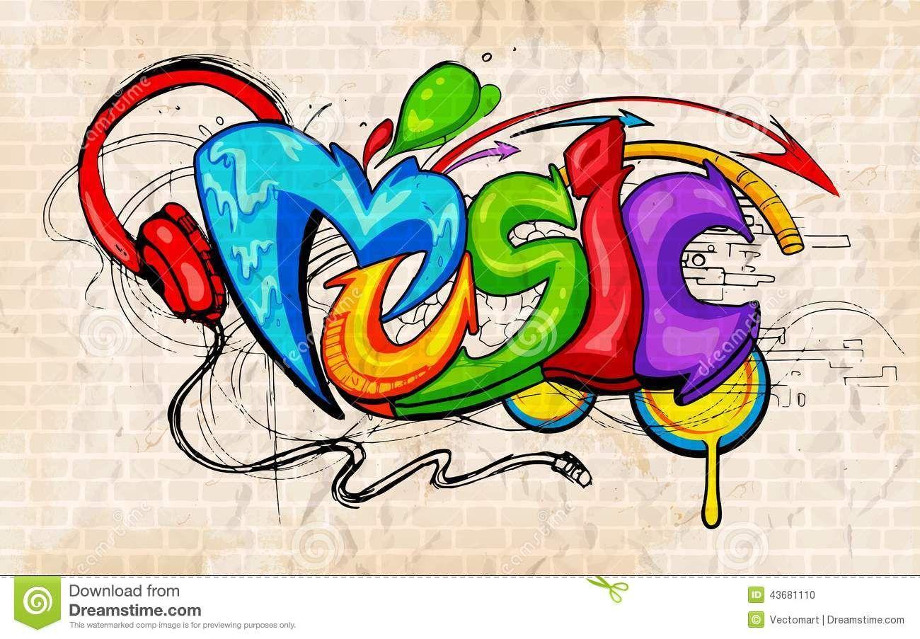 Graffiti clipart music. Stock illustrations vectors