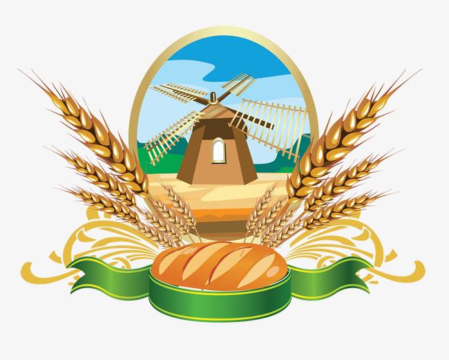 Grain clipart. Vector windmill wheat bread