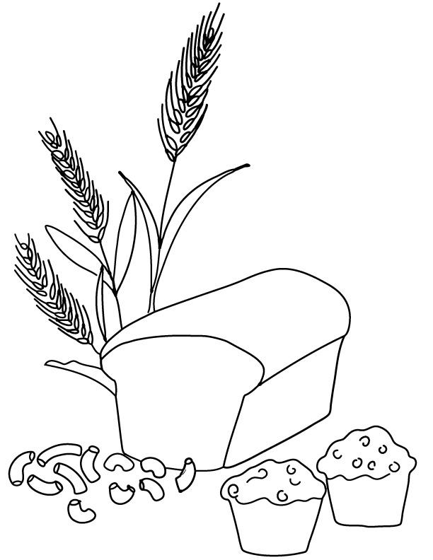 Macaroni pasta bread muffin. Wheat clipart wheat product