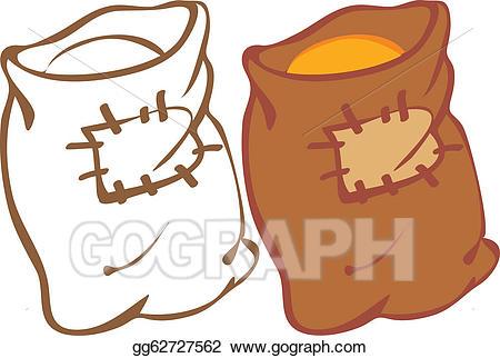 Grain clipart grain bag. Vector art sack of