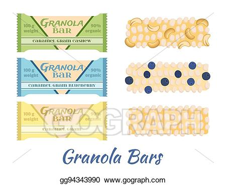 Vector art granola bars. Grain clipart protein