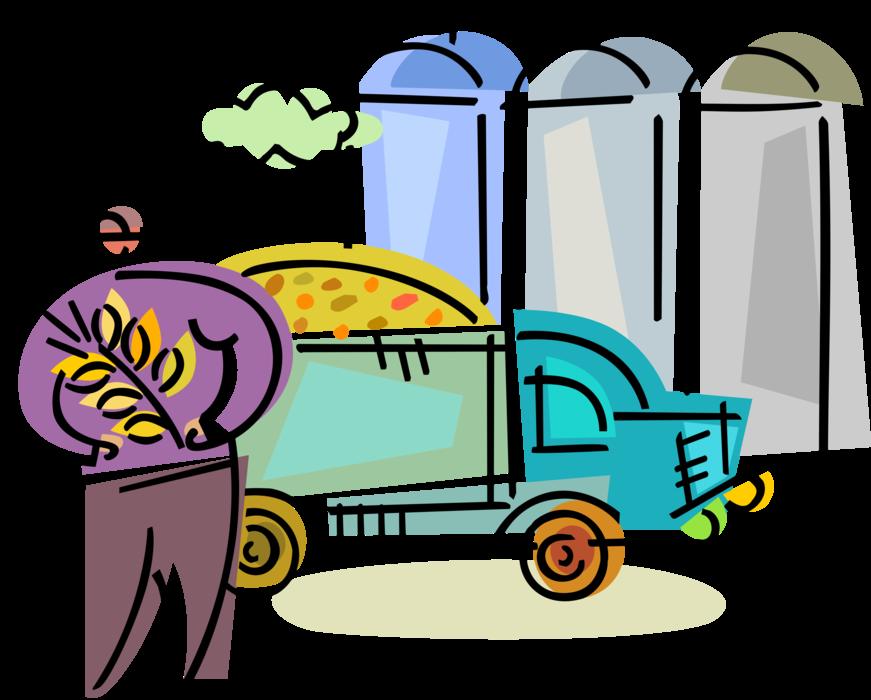 Grains clipart wheat farming. Farmer with grain delivery