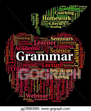 Drawing word shows rules. Grammar clipart language literacy