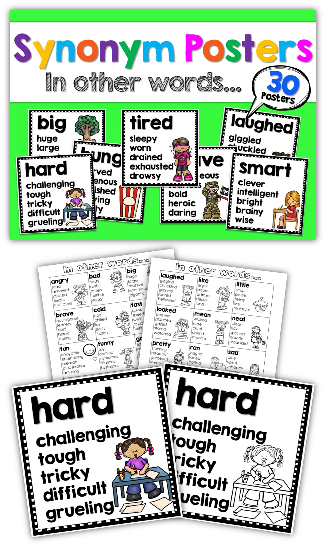Grammar clipart language literacy. Synonym posters usa and