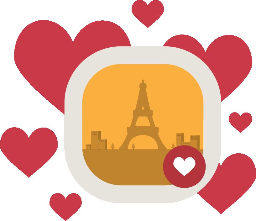 French language love affair. Mango clipart illustration