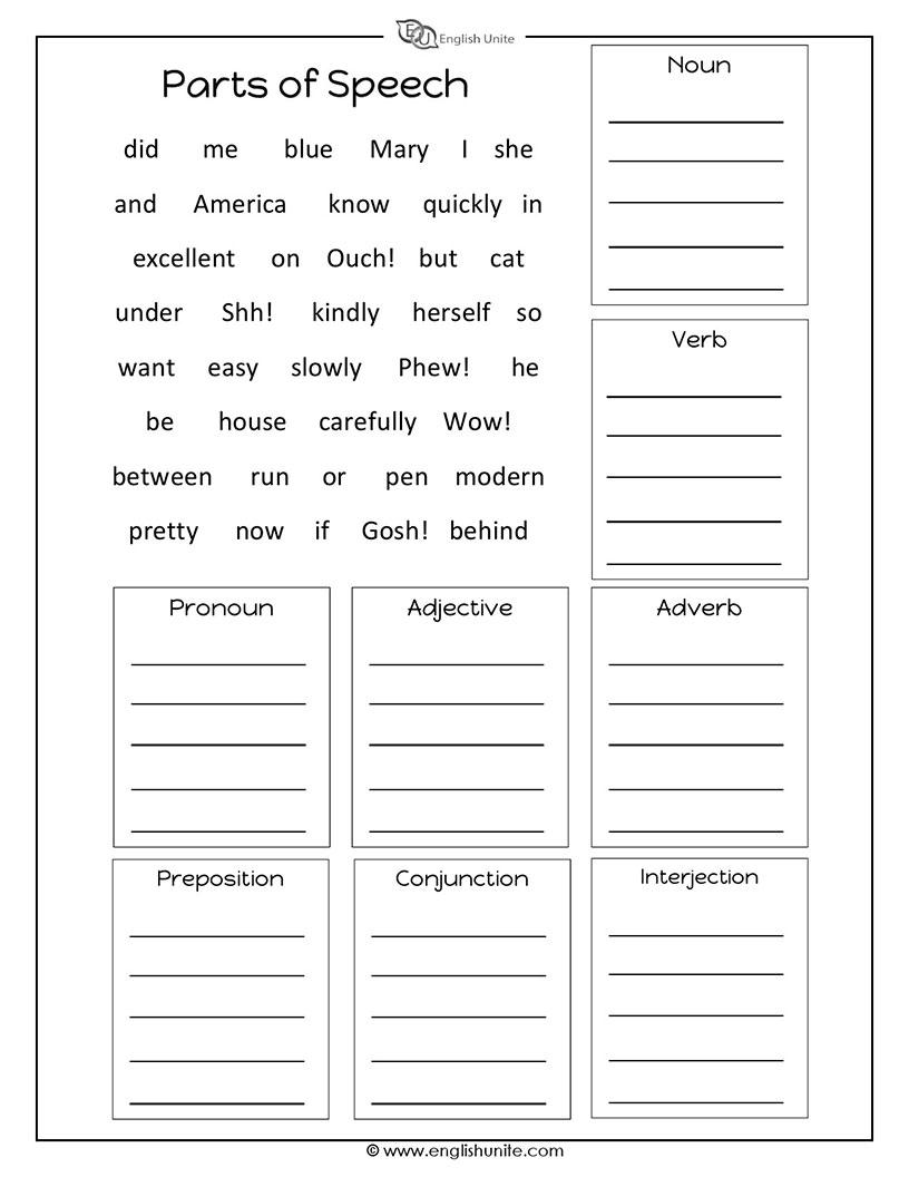 Parts of worksheet english. Grammar clipart part speech