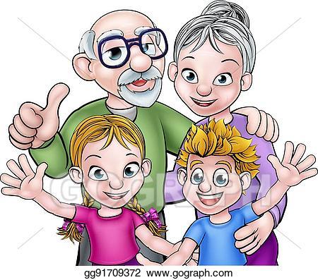 Grandparents clipart cartoon. Eps illustration children and