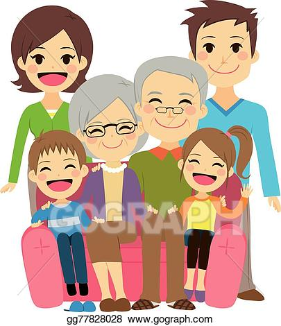 Vector art happy extended. Grandmother clipart father
