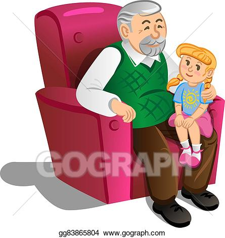 Grandfather clipart grandfather grandchild. Vector stock with granddaughter