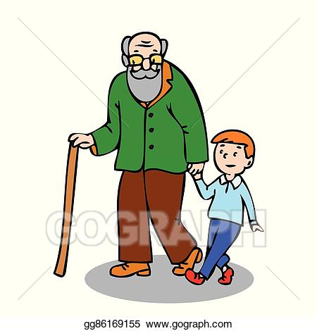 Vector illustration with eps. Grandfather clipart grandfather grandson