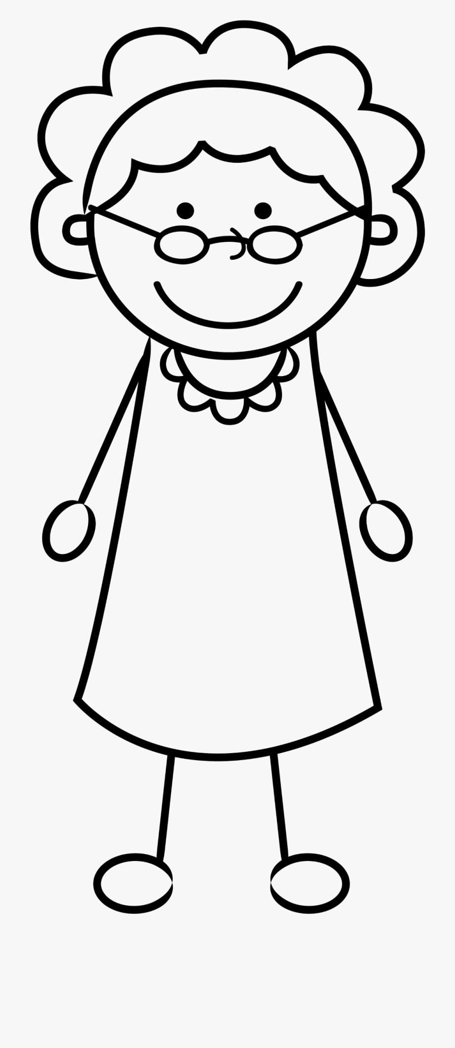Grandmother clipart black and white. Freetoedit stickman grandma female