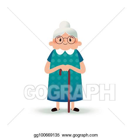Grandma clipart cane clipart. Stock illustration cartoon happy