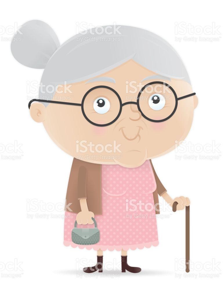 Vector illustration of old. Grandma clipart cane clipart