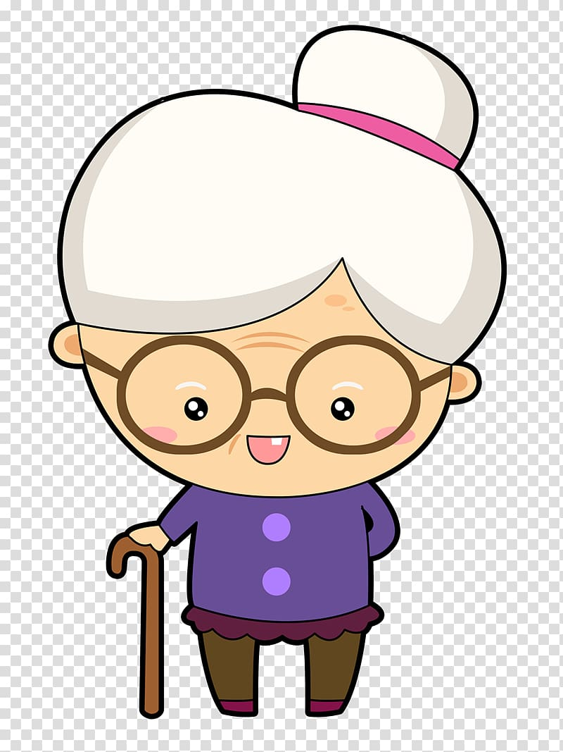 Woman with walking cane. Grandparents clipart cartoon