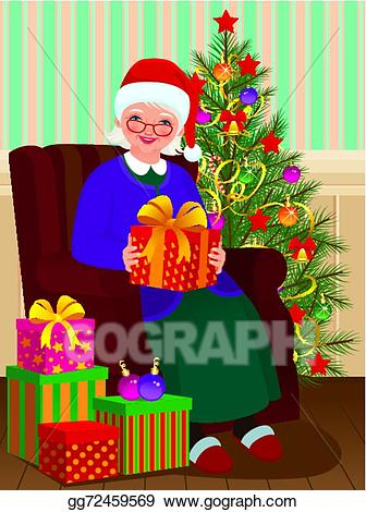 Vector illustration gifts for. Grandma clipart christmas